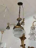 Aranyozott Bronz csillár. Kristály nagy burával. 3 ágú.1900 évek.