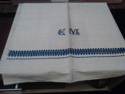 Antik vászon monogramos törülköző.
