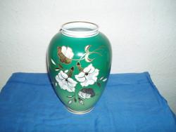 Wallendorf 1764 zöld váza, aranyozott virágmintával Gold reflief handgemalt
