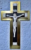40. Antik, CSONT Jézus Krisztus (19cm), 40cm feszület réz keretben, impozáns, kereszt, korpusz