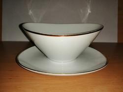Bavaria porcelán arany csíkos mártásos szószos tál kiöntő (19/d)