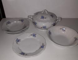 Zsolnay régi étkészlet (kék virágos)