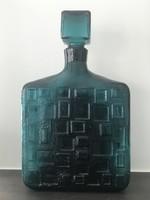 Retro olasz Empoli díszüveg türkizzöld színben,  30 cm magas