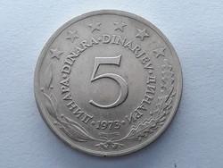 Jugoszlávia 5 Dínár 1973 - Jugoszláv 5 Dinara 1973 külföldi pénz, érme