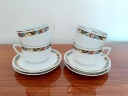 Régi Zsolnay porcelán virágos teás csésze 4 db
