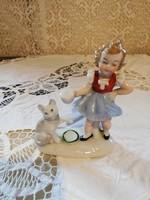 Eladó régi porcelán német cicát etető kislány figura nipp!