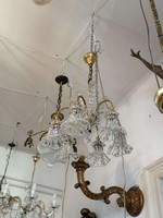 Bronz csillár   Murano  kristály díszekkel.  6 ágú.1900 évek.