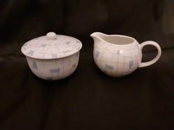 Szép mintás, hibátlan Arsberg porcelán, tej kiöntő és cukortartó
