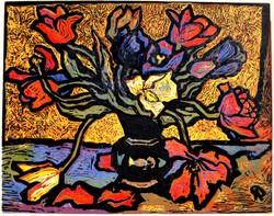 Pap Gyula (1899-1983): Expresszionista csendélet, 1963 - színes linóleummetszet, No 7