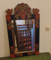 Festett népi tükör eladó/Old, painted, traditional Hungarian mirror for sale