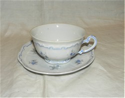 Zsolnay kék tollazott apró virágos teás csésze aljával