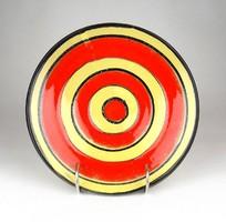 1D315 Retro piros sárga iparművészeti kerámia falitál 21.5 cm