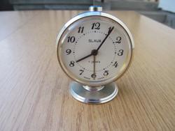 SLAVA / Cлава asztali óra (11 köves, ébresztős, hibátlan)