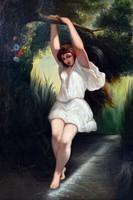 ANTIK festmény, 88 x 58 cm, olaj vászon