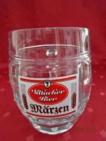 Üveg sörös korsó, hagyma forma, 0,5 literes. Tillacher Bier felirattal.