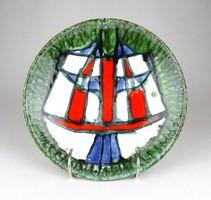 1D308 Fórizsné Sárai Erzsébet mázas retro kerámia falitányér 21 cm