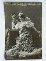 M. SZOYER ILONKA ÉS RÁTHONYI ÁKOS (VÍG ÖZVEGY), FOTÓ 1909, KÉPESLAP RITKASÁG (9X14 CM) EREDETI