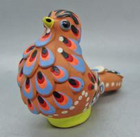 B163 Jelzett festett kerámia madár - csodaszép gyűjtői ritkaság!