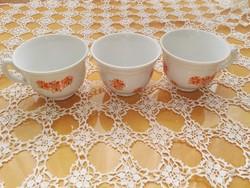 Zsolnay kávés csészék - narancs színű virágokkal
