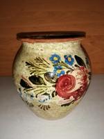 Antik mázas kerámia szilke köcsög edény bögre 14,5 cm
