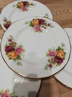Angol rózsás desszertes tányérok 4 db
