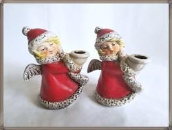 Ritka, minőségi német Goebel porcelán, piros ruhás gyertyatartó angyalkák