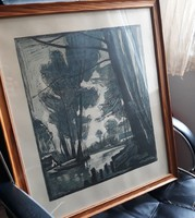 Linóleummetszet - papír technika, XX. század közepe, ismeretlen grafikus munkája