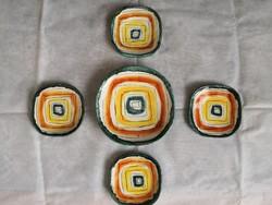 Gálócsy Edit kerámia, Art deco tányérok, süteményes készlet
