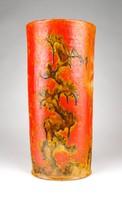 1D317 Narancs mázas jelzett iparművészeti kerámia váza 24.5 cm