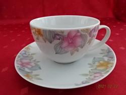 Alföldi porcelán, virágmintás teáscsésze + alátét. Alátét átmérője: 15,5 cm.