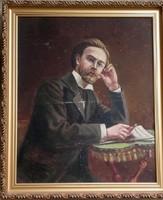 Portré a 19.sz.-ból, egyelőre ismeretlen de kvalitásos alkotás, egy zeneszerző nemes úrról.70x60 cm.