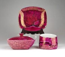 1D358 Régi irizáló lila Hollóházi porcelán készlet 3 darab