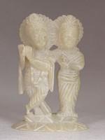 0M739 Kétalakos Indiai alabástrom szobor 12 cm