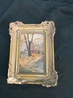 1ft os aukció. Antik, Magyar szignózott miniatűr 9,5 cm szer.13,5 cm a kép.