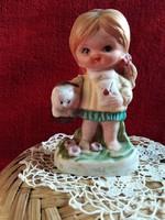 Biszkvit porcelán kislány, cicával, XX.szd második feléből