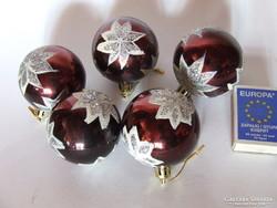 Sötétbordó, csillámos műanyag  karácsonyfa díszek, karácsonyi dekoráció- 5 db egyben