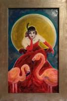 Bál után - flamingós art deco festmény 30x50cm, Palaics Eszter alkotása