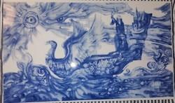 Szász Endre 'Békehajó' c alkotása porcelán kísérleti darab 55x 33 cm murial