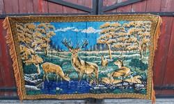 Nosztalgia , nagyméretű  mokett  őzes állatos tájas Gyönyörű selyem  retro  falvédő