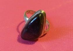 Fekete ásvány ezüst gyűrű 60-as