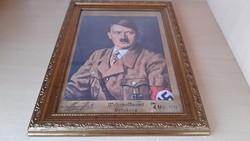Hitlert ábrázoló kép, pecsétekkel. 1939 Wehrmeldeamt Sensburg