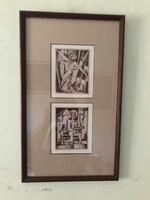 Bortnyik Sándor (1893 - 1976)  Múzeumi Litográfia! Két zseniális alkotása egy keretben!