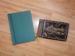 Régi gravírozott fa fedeles fényképtartó, régi családi fényképekkel
