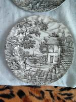 Szürke-fekete mintás angol porcelán lapos tányér szett 6db.