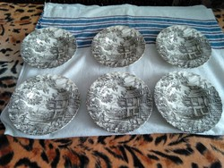 Szürke-fekete mintás angol porcelán mély tányér szett. 6db.