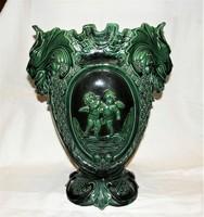 Antik szecessziós puttós , oroszlánfejes nagyméretű fajansz váza 36,5 cm