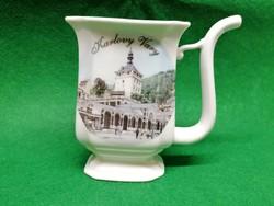 Porcelán kúrapohár Karlovy Vary feliratos