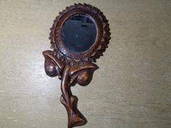 Antik kézzel faragott fa tükör tartó - GYÖNYÖRŰ!!
