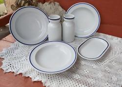 6 db-os  Alföldi kékcsíkos csomag, tányérok váza kisebb pecsenyés  tányér  nosztalgia darabok