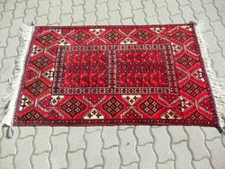 KURIÓZUM! Antik türkmén kézi csom., nomád Engszi (jurta ajtó) hibátlan, álomszép állapotban 165*97cm
